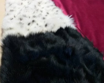 FUR For HOME!Brand New, Real,Natural Black and cream white FOX Fur Throw-Blanket!Order in Any color combinations!