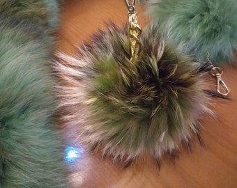 New! Raccoon Large POMPOM-keychain in Beautiful BROWN GREEN colors!