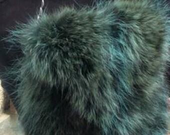 New!Natural,Real Green RACCOON Fur Bag!