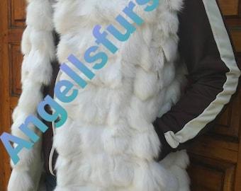 MEN'S New Real Natural Pearl White Fox Fur Vest!
