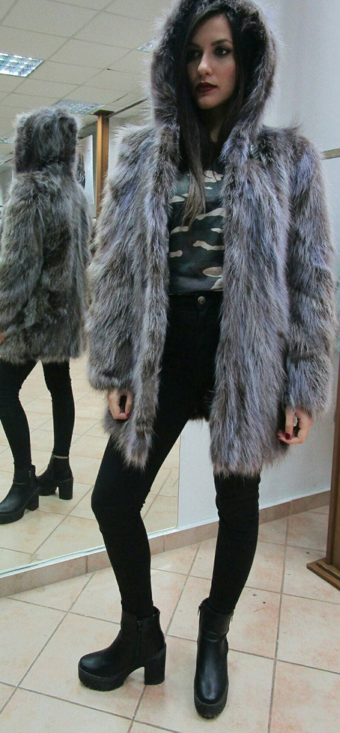61c5b9276f5 Beautiful Natural Real Hooded Raccoon Fur Coat in light blue and brown  colors!!!