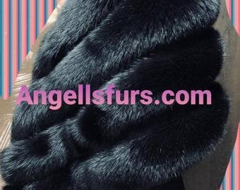 New!Natural,Real Shawl-Etol in Amazing full pelts BLACK FOX!