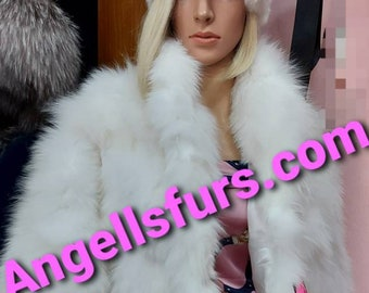 New Natural Real WHITE FOX Fur BOLERO!