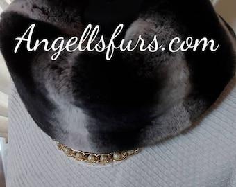 REAL Fur Collars-Headbands!FULLPELTS REX Fur in chinchilla color!Brand New Real Natural Genuine Fur!
