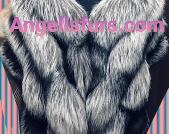 New!Natural,Real Shawl-Etol in Amazing full pelts SILVER FOX!