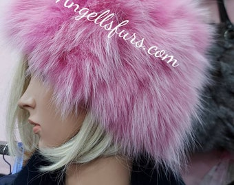 PINK FOX FUR Hat! One Size!Brand New Real Natural Genuine Fur