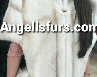 NEW Natural,Real Palomino Kross FULLPELTS MINK Fur Cape-Shawl-Etol!