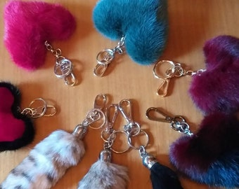 New Beautiful Red colors Hearts-Keychains from Real Mink fur!