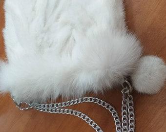 New!Natural,Real Pearl white MINK Fur Bag!