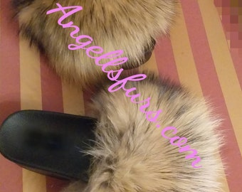 New Real Beautiful Raccoon Fur FLATFORMS! ORDER Any color!