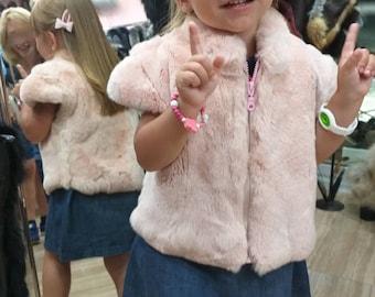KID'S Natural Real Pink fullskin REX fur vest!