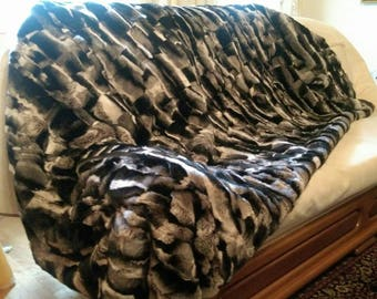 FuR For HomE!Brand New, Real,Natural  REX Fur Throw Blanket in Beautiful chinchilla color!