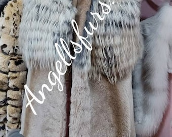 FOX and NOUTRIA combination Long Fur VEST!Brand New Real Natural Genuine Fur