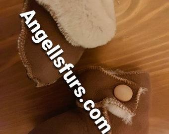 KID'S SHEEPSKIN SLIPPERS!Unisex!Brand New Real Natural Genuine Fur!