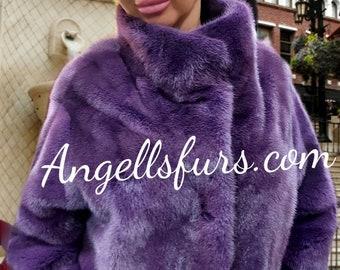 PURPLE MINK FULLPELTS jacket!Brand New Real Natural Genuine Fur!Order Any color!