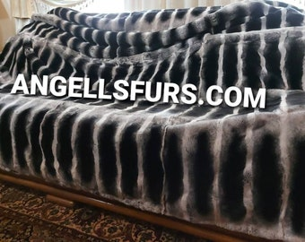 KINGSIZE THROW BLANKET!!! FuR For HomE!Brand New, Real,Natural Fullpelts Fur Throw Blanket in Beautiful chinchilla color!