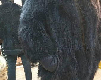 New!Amazing Natural Real Graphite color RACCOON Fur jacket!