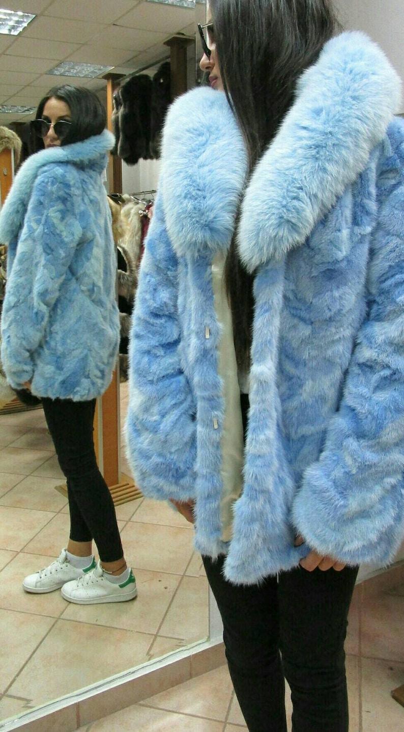 0922103c10c NEWNatural Real LIGHT BLUE Mink fur coat Order Any color