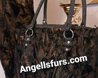 New Natural Real Black ASTRAGAN FUR Handbag!