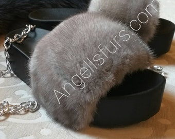 New Real Beautiful MINK Fur FLATFORMS! ORDER Any color!