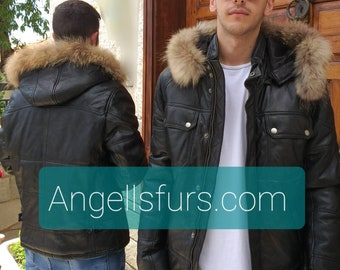 MEN'S New Real Natural Black LEATHER jacket with Detachable HOOD!