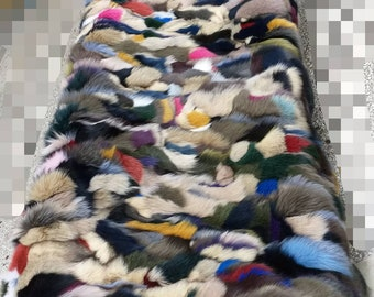 FUR For HOME!Brand New, Real,Natural MULTICOLOR Fox Fur Throw-Blanket!