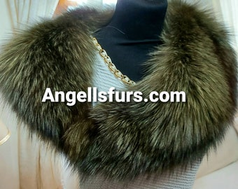 FOX collar in AMAZING COLOR!Brand New Real Natural Genuine Fur!