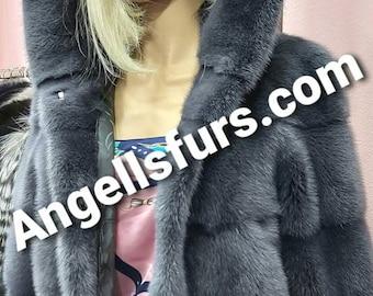 New Natural Real Hooded Amazing color Fullpelts MINK fur jacket! Order Any color!