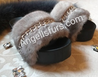 New Real Beautiful MINK Fur FLATFORMS with Stylish chain!