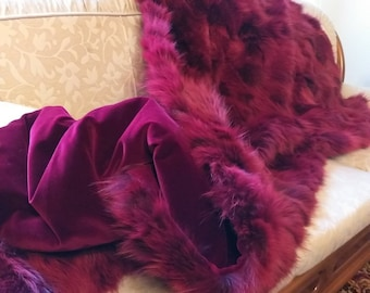 FUR For HOME!Brand New, Real,Natural Wine Red Fox Fur Throw Blanket! Order in Any color!