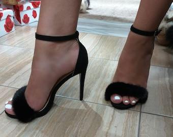 New Real BLACK MINK Fur High heels!Order in Any color!
