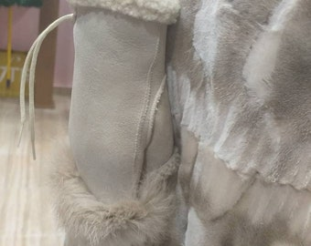 New!Natural,Real Light beige Sheepskin short GLOVES!