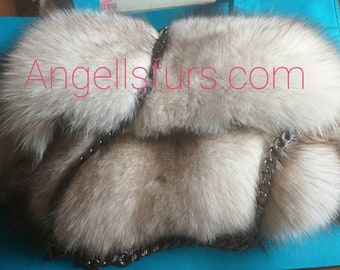 New Real NATURAL BLUE FOX Fur Beautiful Bag!