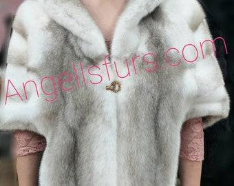 NEW Natural,Real Silver Kross FULLPELTS MINK Fur Cape-Shawl-Etol!