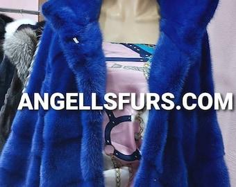 New Natural Real Amazing ROYAL BLUE Fullskin MINK fur jacket! Order Any color!