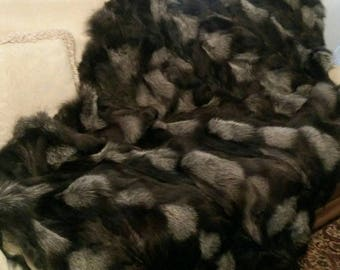FUR For HOME!Brand New, Real,Natural Silver Fox Fur Throw Blanket!