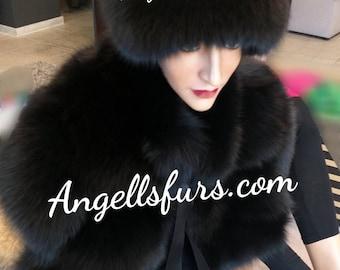 New!Natural,Real Amazing full pelt BLACK Fox Fur HAT!