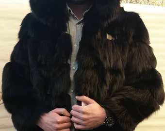 MEN'S New Real Natural HOODED Black Fox Coat with leather stripes!
