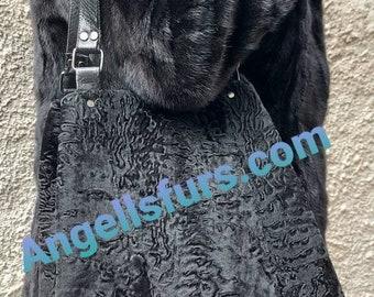 New Natural Real Black ASTRAGAN FUR Shopper BAG!