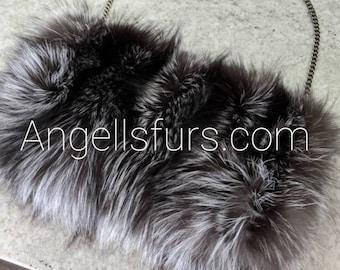 New!Natural,Real Full pelt SILVER FOX Envelope style Fur  Bag!