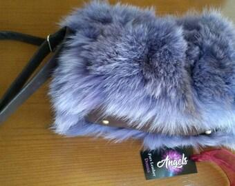 New!Natural,Real Lilac color Fox Fur Bag!