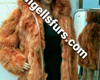 ORANGE FOX FUR Coat!Hooded!Brand New Real Natural Genuine Fur!