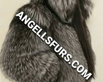 SILVER FOX BOMBER Hooded jacket!Brand New Real Natural Genuine Fur!