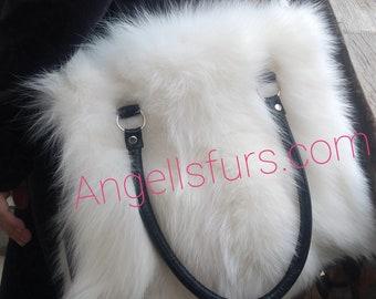 New Bags!!!Natural Real White Fox  FUR BAG!