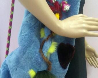 FUN!!!New!Natural Real Fur Shoulder bag!