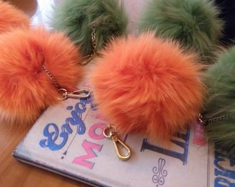 FOX POM-keychains in Beautiful colors!Brand New Real Natural Genuine Fur!