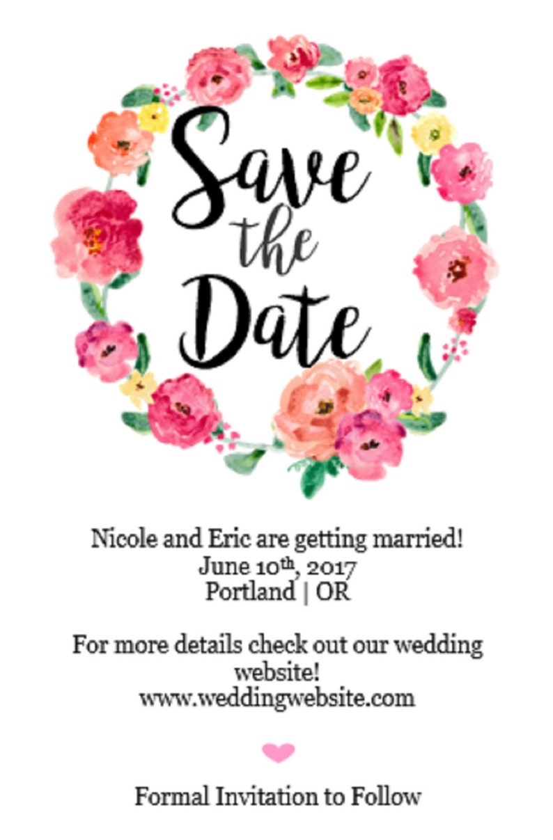 Save the Date Postcard Personalized Save the Dates Spring Wedding Save the Date Digital or Printed Floral Wedding Save the Date