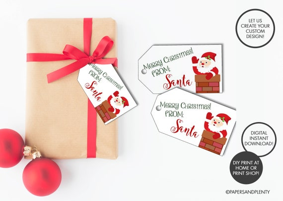 digital file christmas from santa gift tags etsy