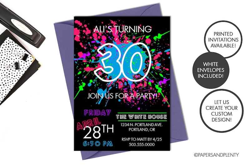 Digital Printed 30th Birthday Party Invitation 80s Theme