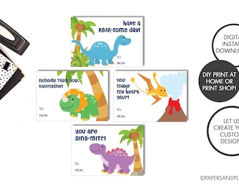 DIGITAL FILE - Dinosaur Valentine Cards for Kids (DIY) set of 4 | Instant Download | Animal Valentine Cards | Dino-mite | Valentine's Day
